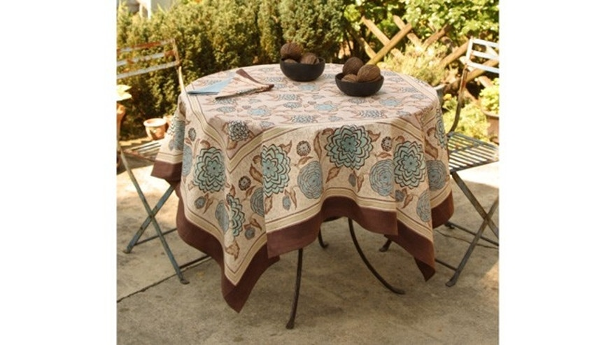 Dahlia-print Art Nouveau French-made tablecloth