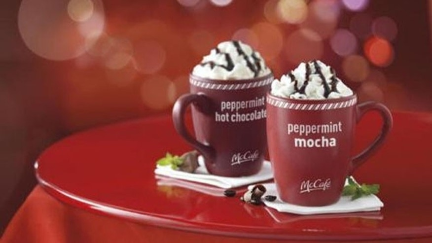 Peppermint Mocha and Peppermint Hot Chocolate from McDonald's