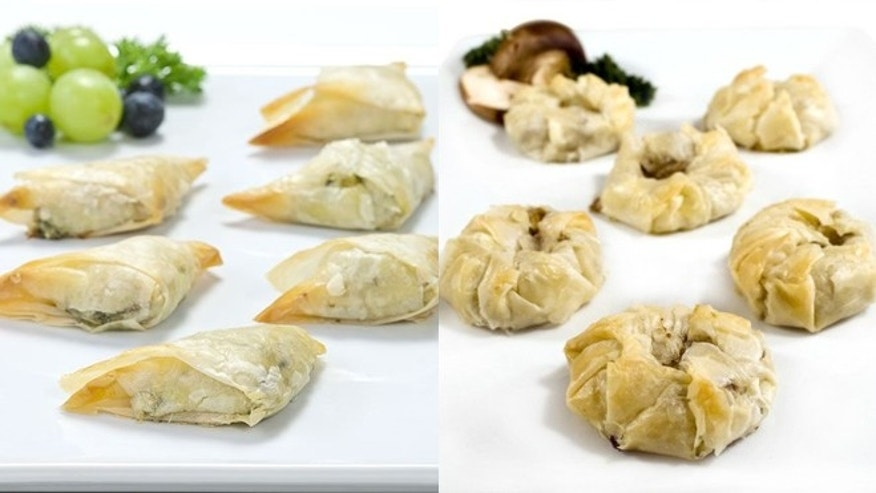 Mushroom Truffle Risotto [left] and Dufour Pastry Kitchens Spanakopita