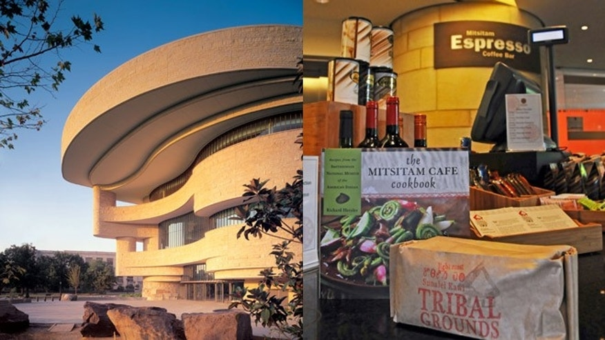 The Smithsonian's National Museum of the American Indian in Washington, D.C. (left) and its newsstand and coffee bar in the Mitsitam Cafe.