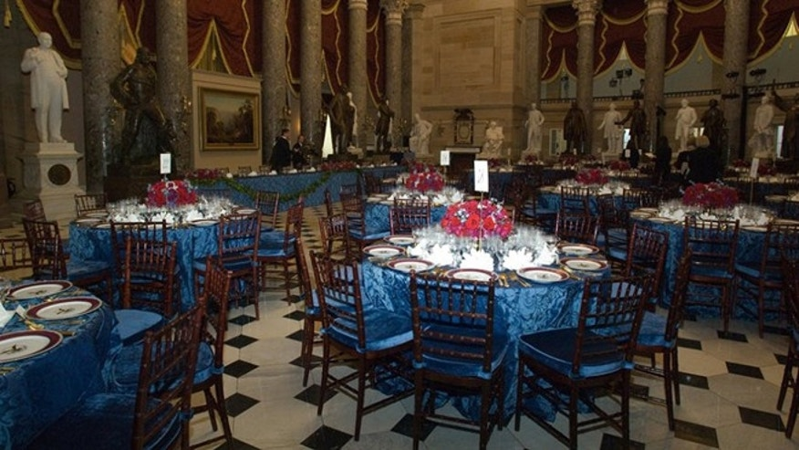 January 20, 2009: National Statuary Hall in the U.S. Capitol ready for the inaugural luncheon immediately following the swearing-in ceremonies.