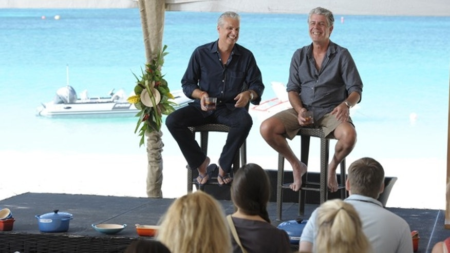 Chef Eric Ripert & Anthony Bourdain talk to guests at Cayman Cookout, 2012