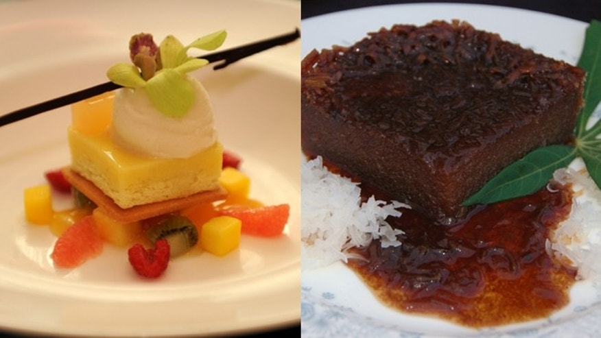 Desserts like the Plated Heavy Cake with coconut garnish (right) are served at the Cayman Cookout