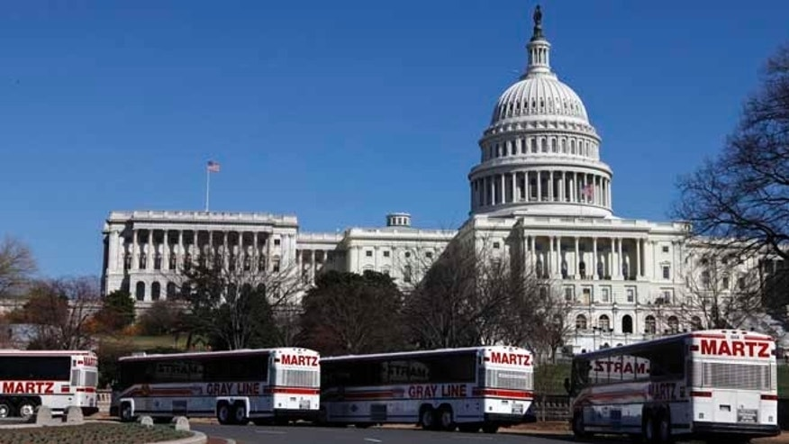 March 23, 2009: Tour buses line up in front of the U.S. Capitol in Washington.