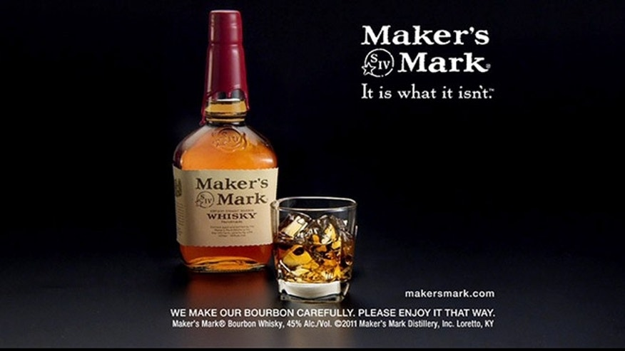FILE- This file still frame image made from video provided by Maker's Mark Distillery Inc., shows a bottle of Maker's Mark in an advertisement.
