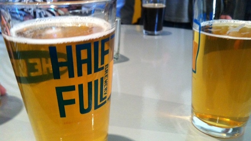 Pint glasses from Half Full Brewery