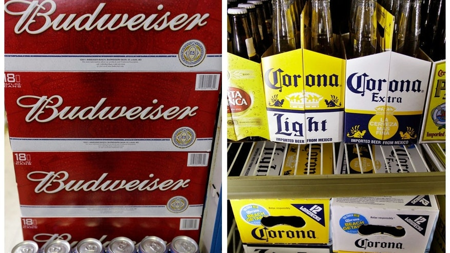 Jan. 31, 2013: This combination of Associated Press file photos show Budweiser beer in the aisles of Elite Beverages in Indianapolis, and Constellation Brands Corona beers displayed at a liquor store in Palo Alto, Calif.