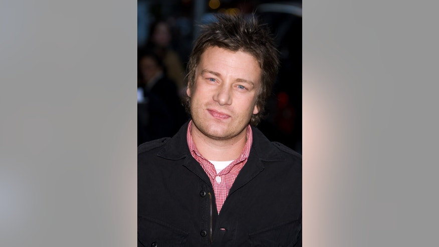 "File - Chef Jamie Oliver arrives for a taping of the ""Late Show with David Letterman,"" in this Nov. 10, 2008 file photo taken in New York."