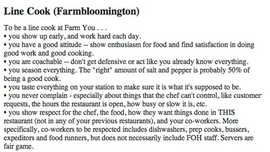 Line cook job posting from FARMBloomington posted on Craigslist.
