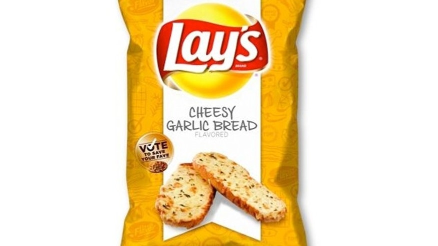 "Cheesy Garlic Bread beat out  Chicken & Waffles and Sriracha as winner of  Lay's ""Do Us A Flavor"" contest."