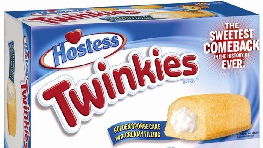 July 15, 2013: This undated image provided by Hostess Brands LLC shows a box of Twinkies. Twinkies will be back on shelves after its predecessor company went bankrupt after an acrimonious fight with unions last year. The brands have since been purchased by Metropoulos & Co. and Apollo Global Management.