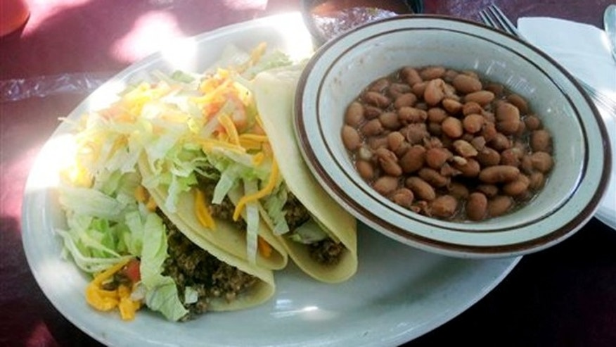 Sept 5, 2013: A soft taco plate from El Patio de Albuquerque, one of the city's most popular dining spots.