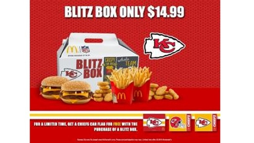 """The """"Blitz Box"""" includes two Quarter Pounders with cheese, two medium fries and 10 Chicken McNuggets with dipping sauces."""