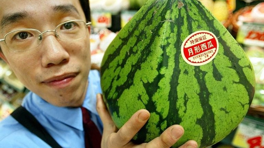 A pyramid-shaped watermelon is shown off in Tokyo, where perfectly-formed melons can sell for the price of a new car and grapes can go for up to $100 each