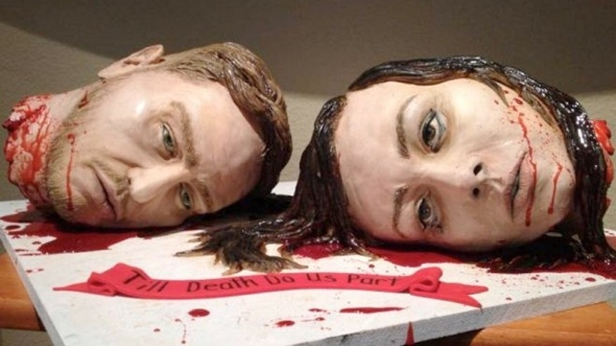 Cake maker Natalie Sideserf designed her wedding cake to look like her and her husband's severed heads.