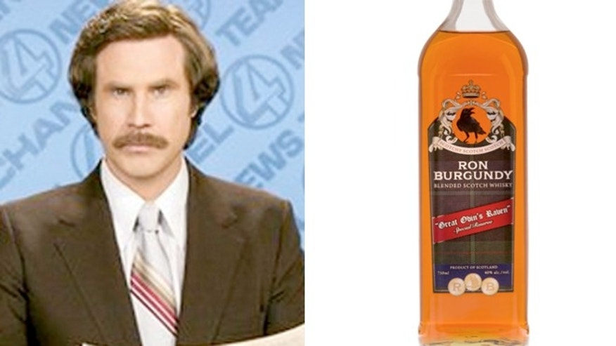 Ron Burgundy Blended Scotch Whisky is bottled in Scotland from a 60 percent malt and 40 percent grain blend by Old St. Andrews Distillery, featuring whiskies from Speyside, Highlands and Islay.