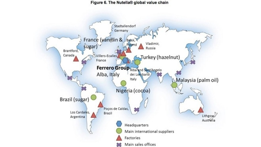This map shows all the countries that contribute to a single jar of Nutella.