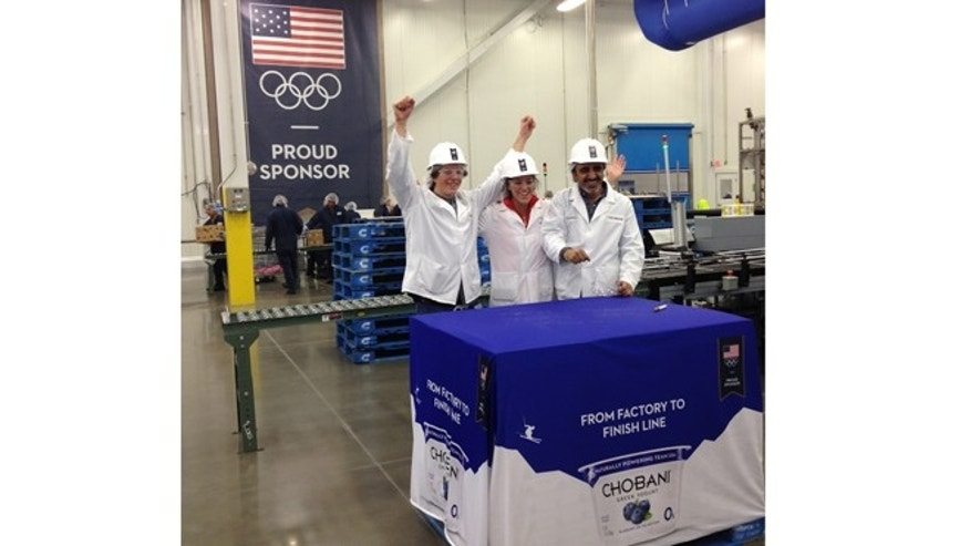 A recent photo of Chobani employees at their plant in Twin Falls, ID, celebrating completion and shipping out Greek Yogurt for Team USA athletes in Sochi Russia.