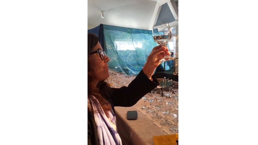 Judge Grace Cutler inspecting the color and clarity of the water at the Berkeley Springs International Water Tasting.