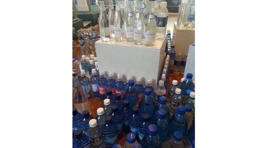 Display of some of the water submitted for the Berkeley Springs International Water Tasting.