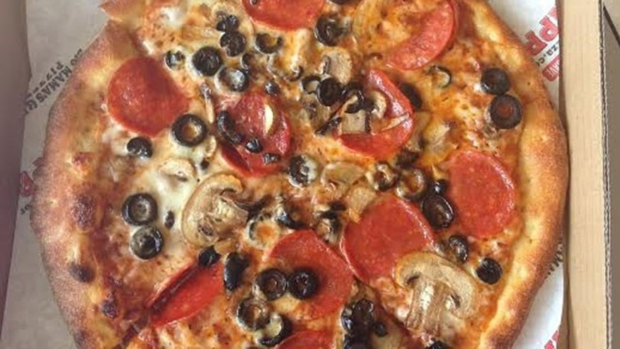 The multi-topping pizza made famous on Sunday's show: pepperoni, mushrooms and olives.
