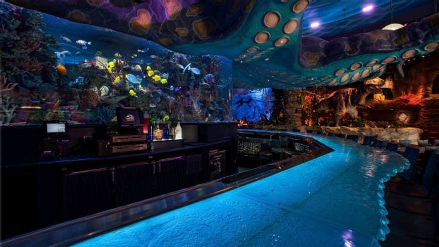 A giant fish tank sprung a leak at Downtown Disney's T-REX Cafe in Orlando.