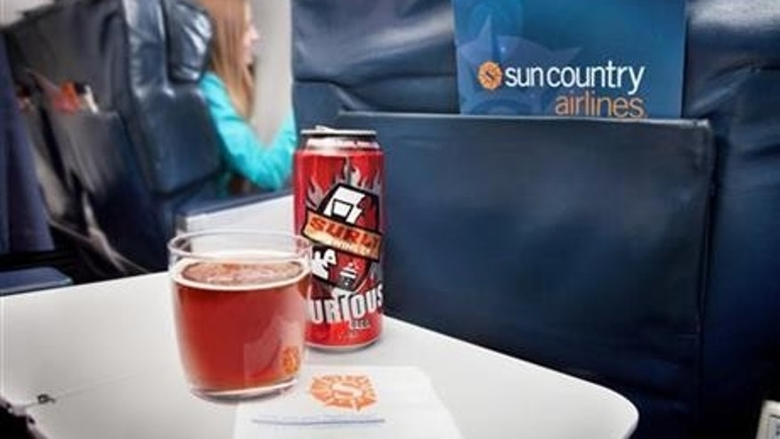 Surly Brewing Co. beer featured aboard an aircraft.