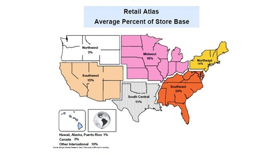 This retail atlas shows the average retailer's breakdown of store locations by region.