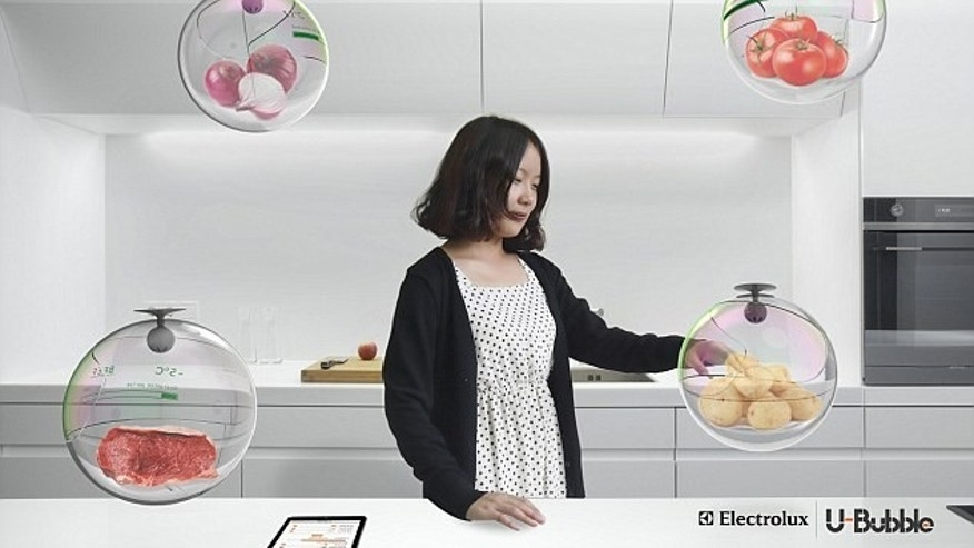 The U-Bubble features different floating compartments for food.