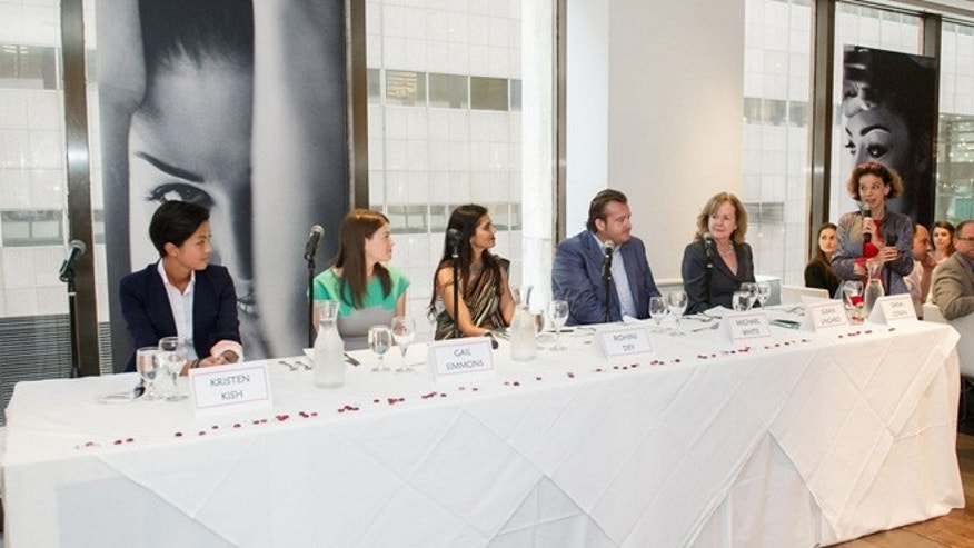 "A recent panel discussion at the James Beard Foundation to talk about women in the industry:  (From left to right) Food & Wine's Dana Cowin, foundation president Susan Ungaro , Michael White of Altamarea Group, Vermilion owner Rohini Dey, Gail Simmons, and ""Top Chef"" Season 10 winner Kirsten Kish."