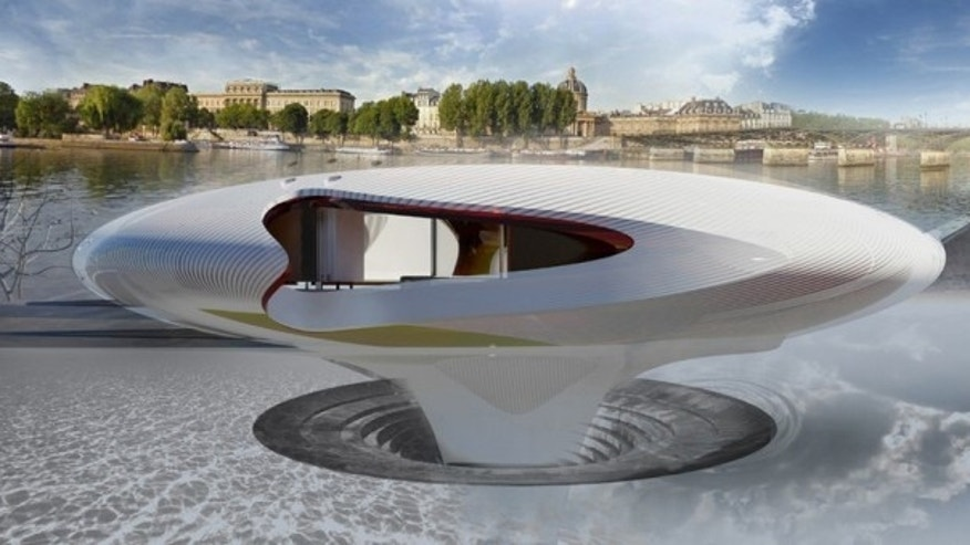 The floating champagne bar on the River Seine.