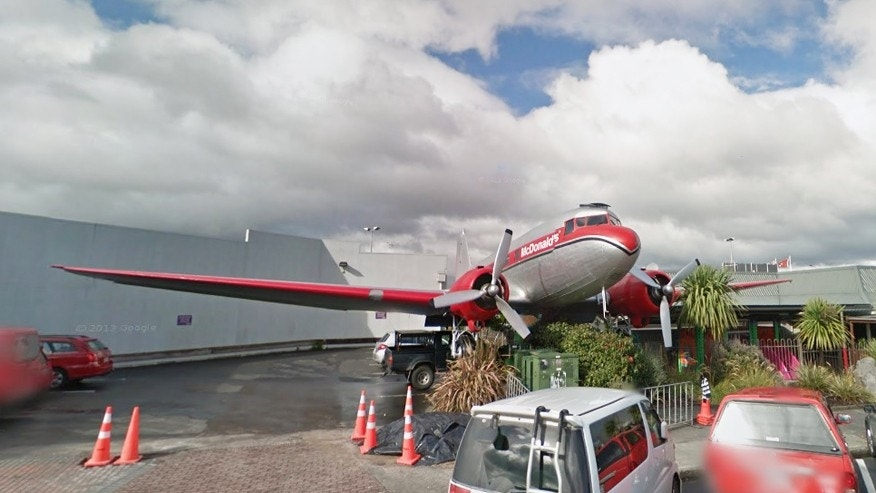 An exterior of the McDonald's plane extension in New Zealand.