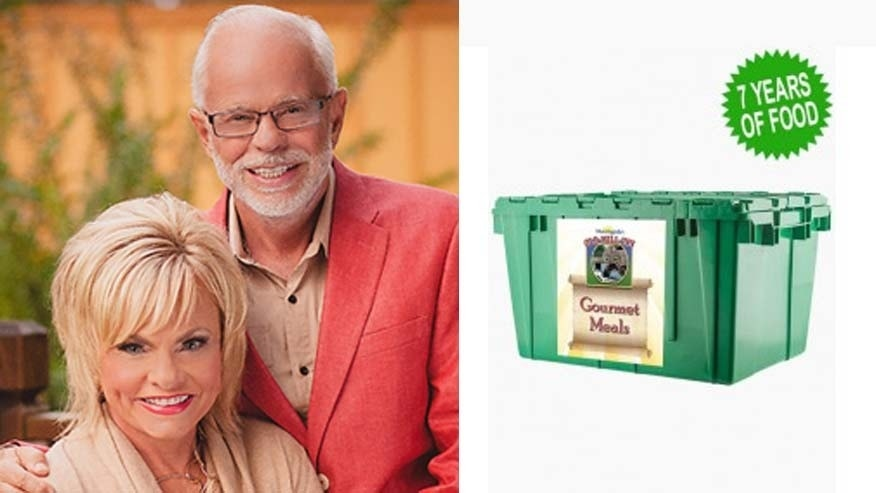 "Jim Bakker poses with his wife. The ""Times of Trouble"" Gourmet meal kit costs $3,000."