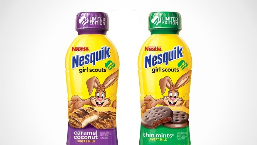 Girl Scout cookie milk is in stores now.