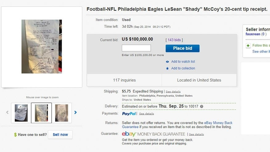LeSean McCoy's receipt is up for auction.