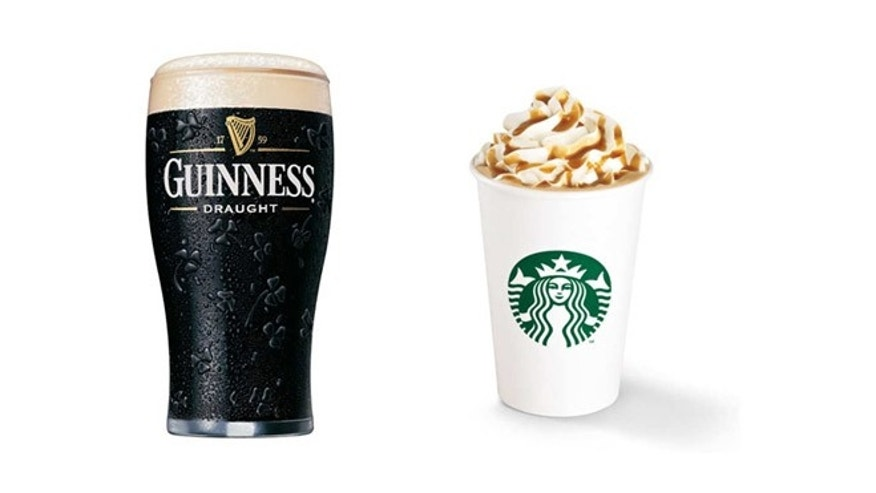 The new latte is made with a stout-flavored syrup. (Guinness/Starbucks)