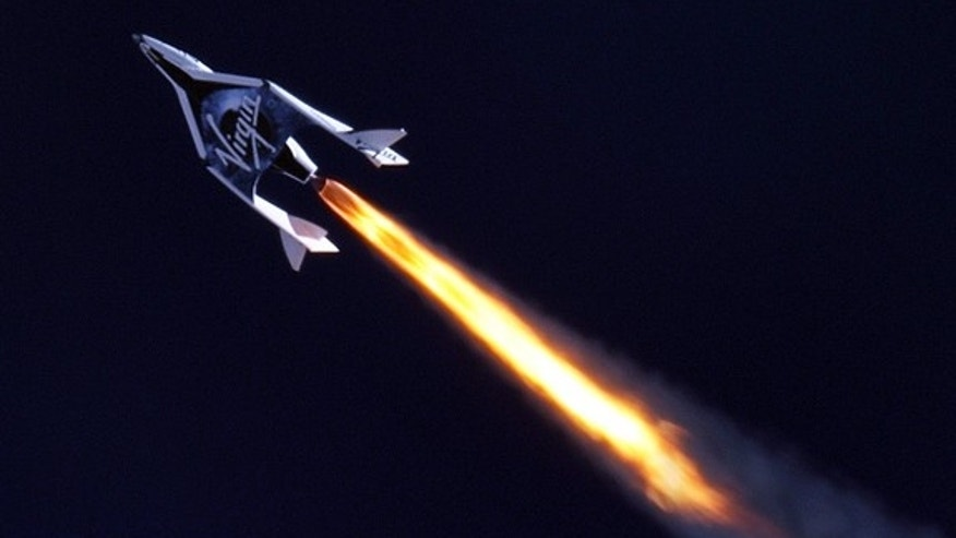 Grey Goose is apparently ready to fly to new heights. Shown here is SpaceShipTwo during its first rocket-powered flight.
