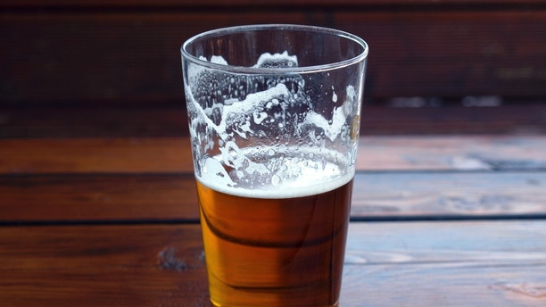 Large glass pint of beer alcoholic drink