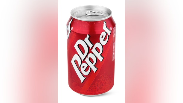 Closeup of aluminum red can of Dr Pepper isolated on white background with clipping path. Dr. Pepper is now manufactured by the Dr Pepper Snapple Group, Inc.