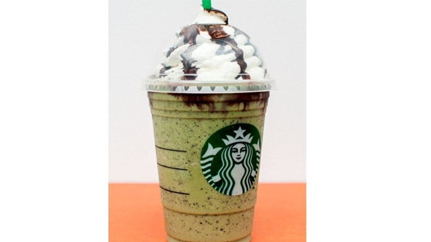 The drink is a Green Tea Frappuccino, except with added white mocha flavor, peppermint, and java chips.