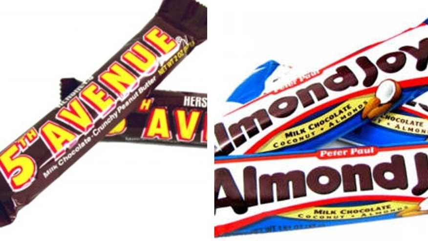 Almond Joy, Fifth Avenue, Take 5 and York are products made with corn syrup.