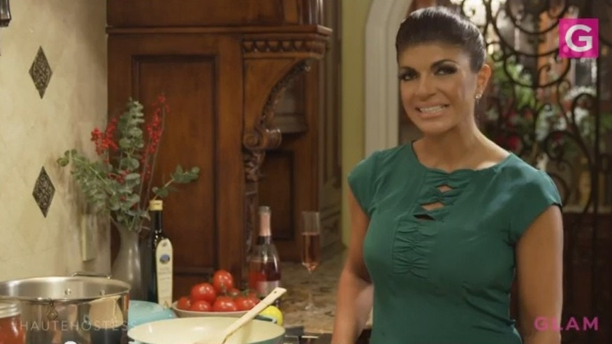 Teresa Giudice makes a recipe from her cookbook.
