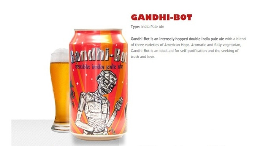 A can of Gandhi-bot beer.