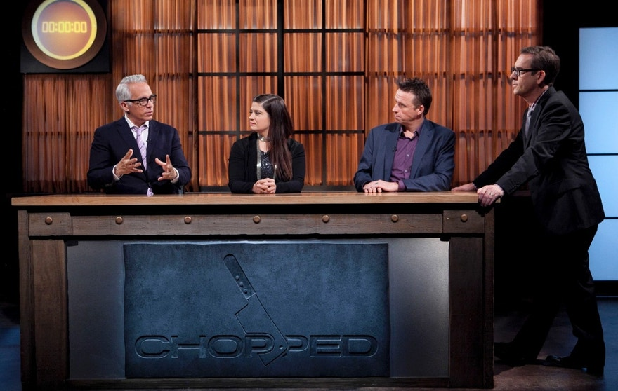 Chopped Host Ted Allen and judges: Geoffrey Zakarian, Alex Guarnaschelli and Marc Murphy discuss the appetizer cooking round, as seen on Food Network's Chopped, Season 19.