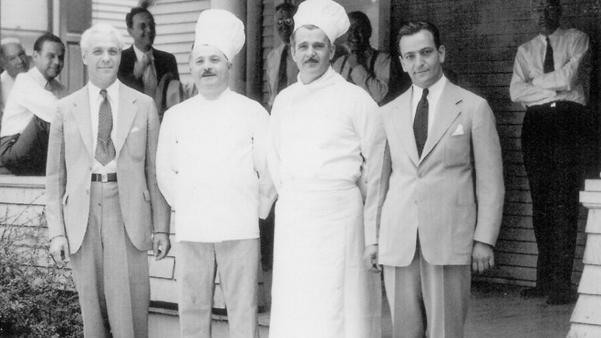 Once Americans could buy Chef Boyardee at A&P supermarkets in 1928, the company exploded. (From left to right) Great uncle Paul, grea tuncle Hector, Anna Boiardi's grandfather Mario, Carl Columbi (Secretary at Chef Boyardee) in Milton, Pennsylvania.