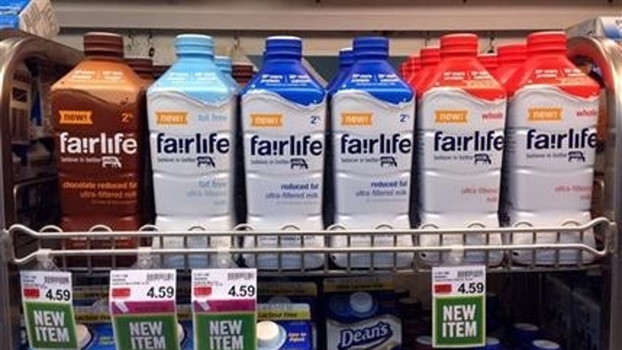 Fairlife milk products appear on display in the dairy section of an Indianapolis grocery store.