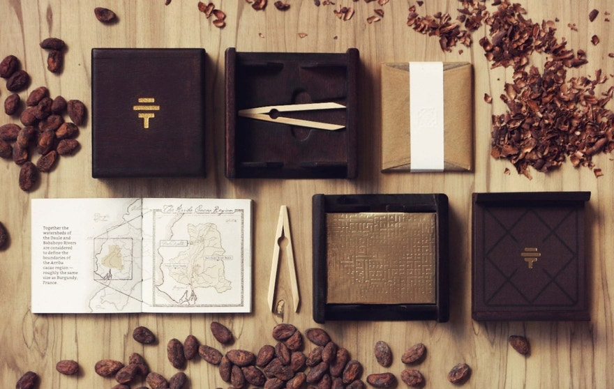 Each bar of this luxury chocolate comes tucked in a Spanish elm box, with special tasting tools, and a booklet.