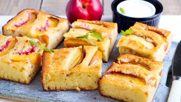 Slices of nectarine polenta cake