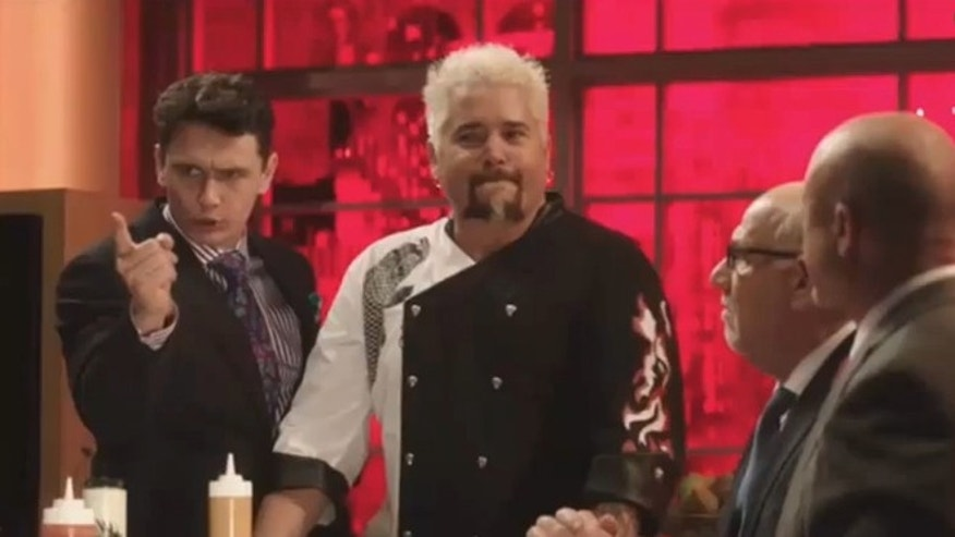 "Guy Fieri and James Franco appear in a deleted seen from Sony's ""The Interview."""