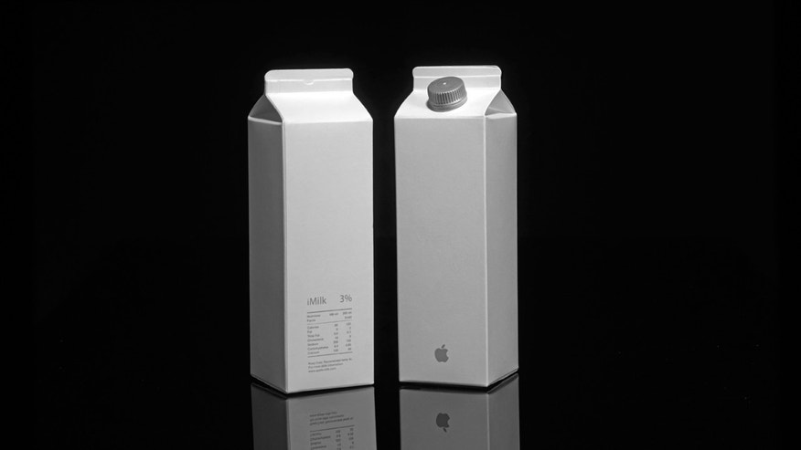 Got iMilk? These sleek white cartons mirror Apple's signature branding.